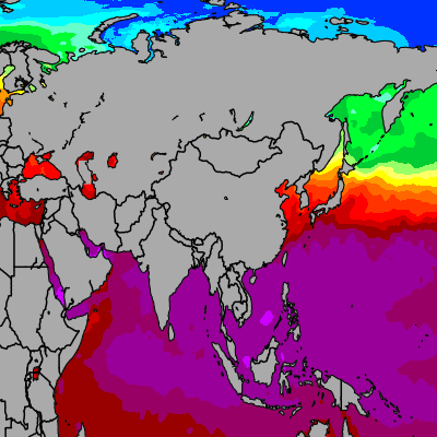 Today Asia sea temperatures