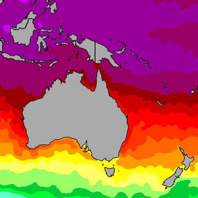 Today Australia & Pacific sea temperatures