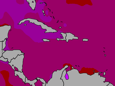 Caribbean Sea temperature map