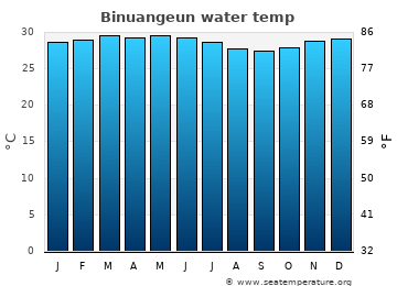 Binuangeun average sea temperature chart