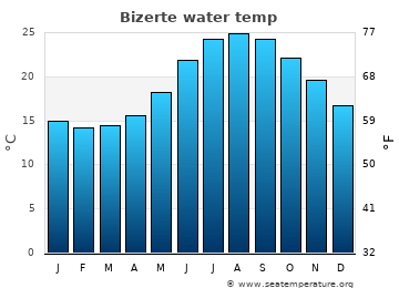 Bizerte average sea temperature chart