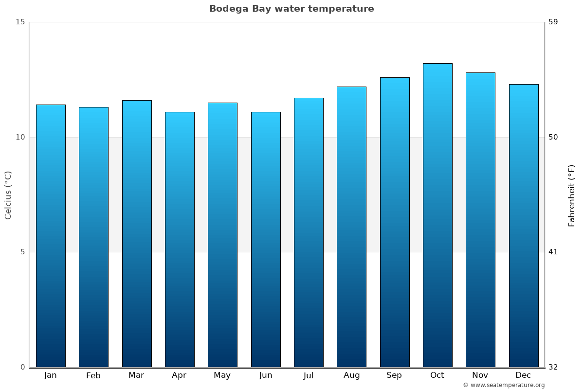 Bodega Bay average water temperatures