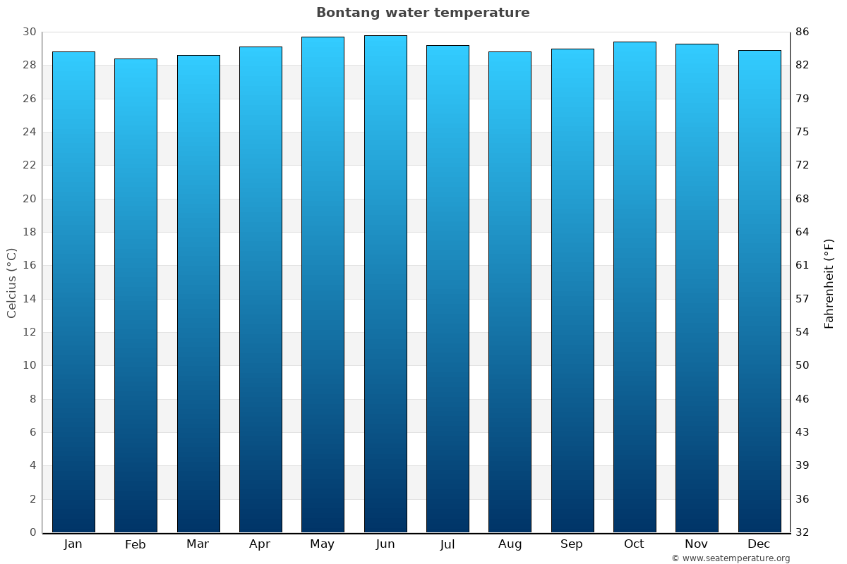 Bontang average sea temperature chart