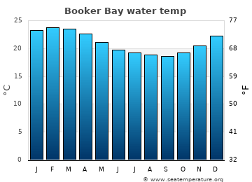 Booker Bay average sea temperature chart