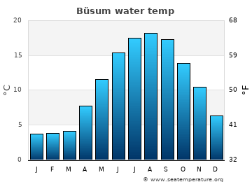 Büsum average sea temperature chart