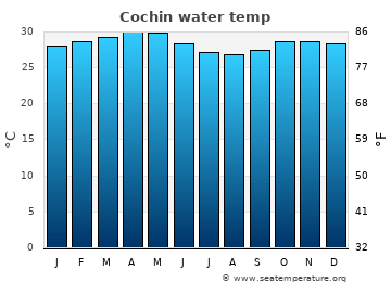 Cochin average sea sea_temperature chart