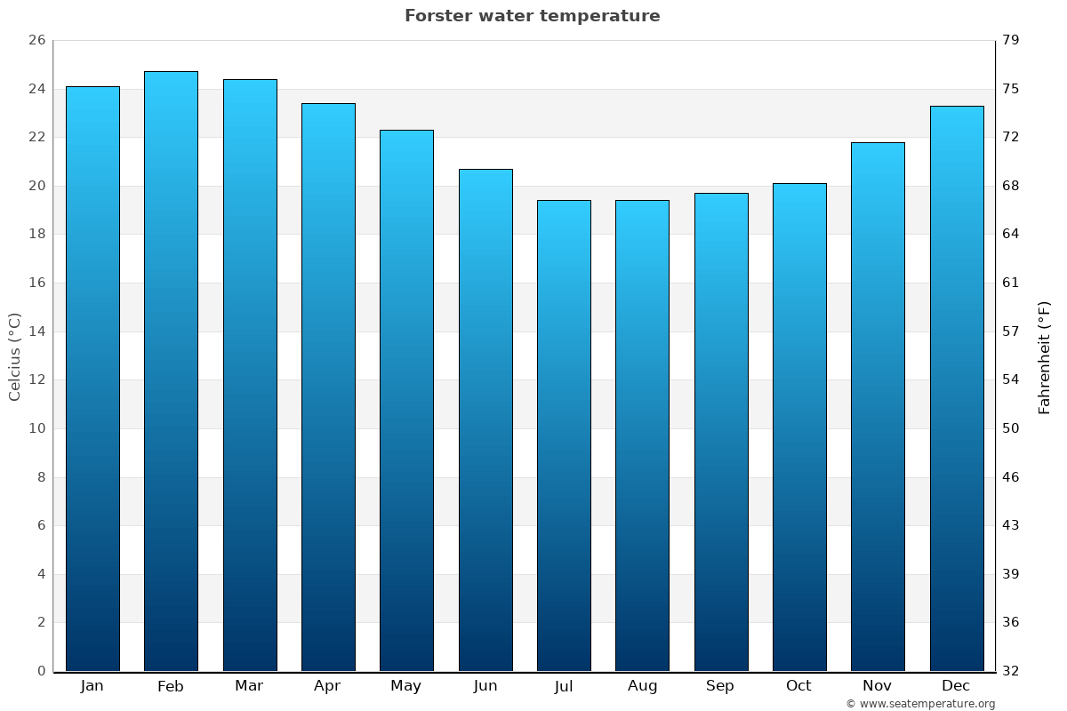 Forster average water temperatures