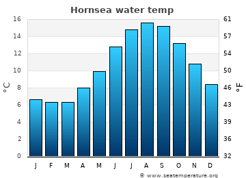 Hornsea average sea temperature chart