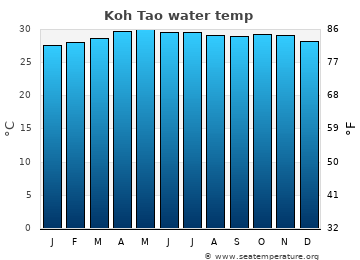 Koh Tao average sea temperature chart