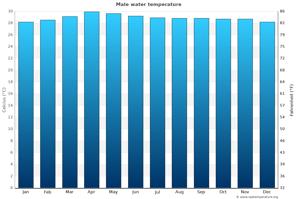 Male average water temperatures