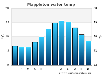 Mappleton average sea temperature chart