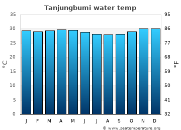 Tanjungbumi average sea temperature chart