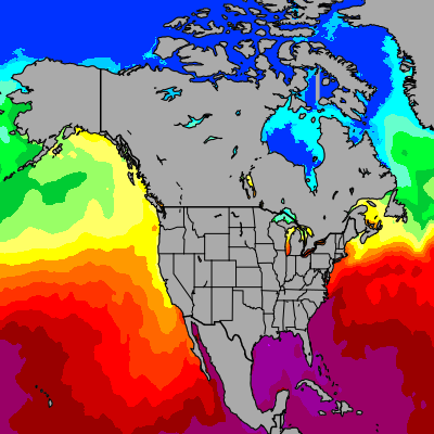 Today North America sea temperatures