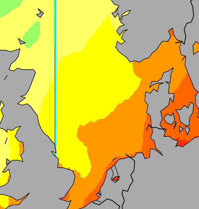 North Sea temperature map